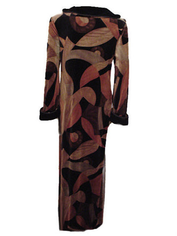 NEW - DIAMOND TEA LUXURIOUS SPANDEX VELVET VELOUR HARD-TO-FIND ZIP UP FRONT ROBE IN AUTUMN EMBERS - SIZE SMALL
