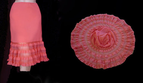 VINTAGE FANCY 4-TIERED LACE & DOUBLE NYLON FULL CIRCLE FLOUNCE SLIP IN FLAMINGO