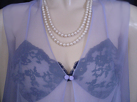 ADORABLE VINTAGE VANITY FAIR PERIWINKLE SHEER SHORTY PEIGNOIR & NIGHTGOWN SET ADORNED WITH NAVY LACE