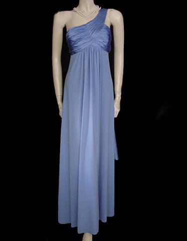 FABULOUS GRECIAN GODDESS RUCHED SATIN & SPANDEX ONE-SHOULDER EVENING GOWN