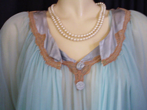 VINTAGE JENELLE DOUBLE NYLON PEIGNOIR & NIGHTGOWN SET WITH SATIN & ECRU LACE TRIM IN CARIBBEAN JEWEL