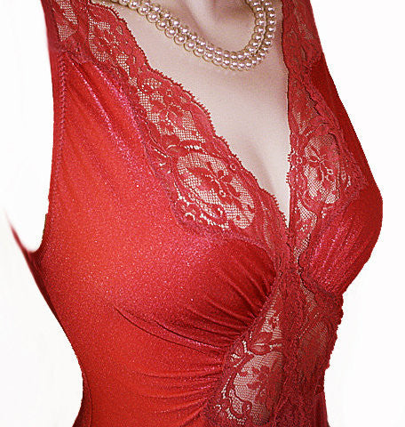 VINTAGE OLGA BODYSILK SPANDEX LACE GRAND SWEEP NIGHTGOWN IN RED PEPPER  - OVER 17-1/2 FEET CIRCUMFERENCE