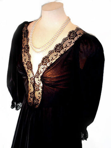 RARE STYLE VINTAGE LADY CAMEO OLGA-LOOK SPANDEX LACE NIGHTGOWN WITH SLEEVES IN PEPPERCORN - EXTRA LONG 57""
