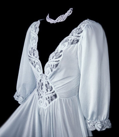 RARE COLOR & STYLE OLGA SPANDEX LACE NIGHTGOWN WITH SLEEVES IN QUICKSILVER