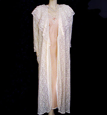 "VERY RARE VINTAGE CHRISTIAN DIOR ""LE CONNAISSEUR"" FROM NEIMAN MARCUS SILK & HEAVY LACE BRIDAL TROUSSEAU PEIGNOIR & NIGHTGOWN SET"