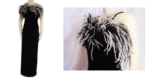 VINTAGE BLACK VELVETEEN EVENING GOWN WITH METAL ZIPPER ADORNED WITH OSTRICH FEATHERS