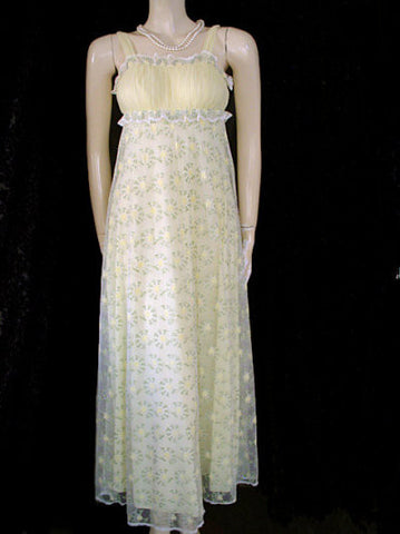 VINTAGE RARE MERLE NORMAN TULLE & NYLON GRAND SWEEP PEIGNOIR & NIGHTGOWN SET IN LEMON & LIME - NEARLY 24-1/2 FOOT GRAND SWEEP!