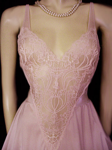 VINTAGE  OLGA ALL LACE BODICE NIGHTGOWN WITH SHEER BACK IN PINK GRAPEFRUIT - SIZE MEDIUM