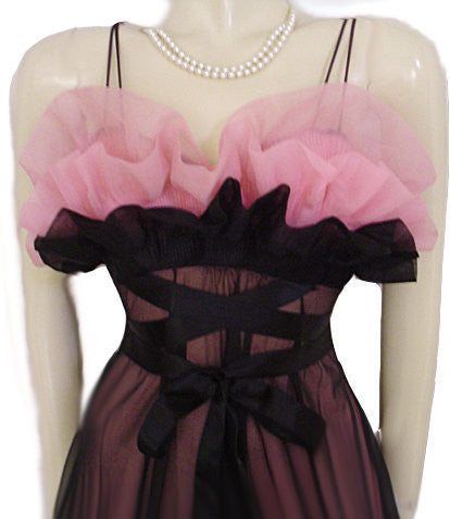 FOR VINTAGE NIGHTGOWN CONNOISSEURS - EXQUISITE RARE VANITY FAIR SEASHELL BODICE DOUBLE NYLON NIGHTGOWN IN BLACK & ROSE DEW - THIS ITEM QUALIFIES FOR THE LAYAWAY PLAN