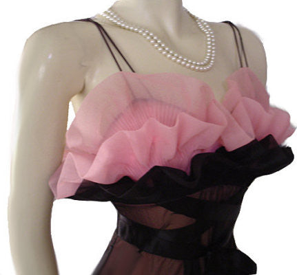 FOR VINTAGE NIGHTGOWN CONNOISSEURS - EXQUISITE RARE VANITY FAIR SEASHELL BODICE DOUBLE NYLON NIGHTGOWN IN BLACK & ROSE DEW