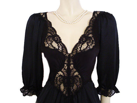 RARE STYLE VINTAGE OLGA SPANDEX LACE NIGHTGOWN WITH SLEEVES IN BLACK CURRANT