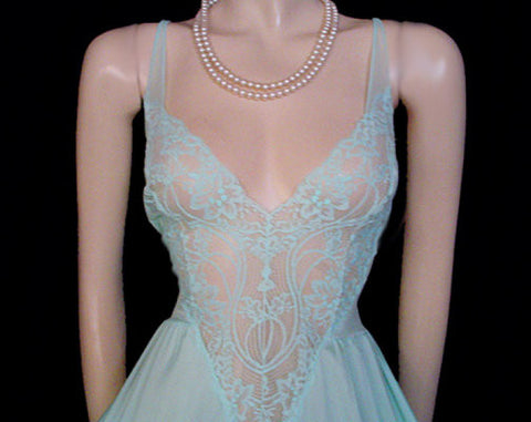 VINTAGE OLGA ALL LACE BODICE NIGHTGOWN WITH SHEER BACK IN BLUE TOPAZ - SIZE LARGE