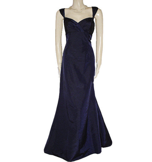 Gorgeous David S Bridal Sweetheart Neckline Navy Iridescent Taffeta Ruffled Evening Gown Large Size