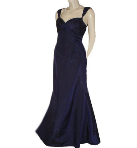 GORGEOUS DAVID'S BRIDAL SWEETHEART NECKLINE NAVY IRIDESCENT TAFFETA RUFFLED EVENING GOWN - LARGE SIZE