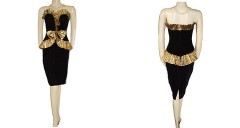 VINTAGE CLIMAX BY KAREN OKADA FOR DAVID HOWARD BLACK VELVET SWEETHEART NECKLINE EVENING GOWN WITH GOLD METALLIC RUFFLED BODICE & PEPLUM