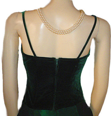 VINTAGE SCOTT McCLINTOCK RUCHED VELVET & TAFFETA EVENING GOWN IN EMERALD