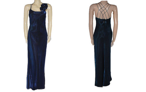 SOLD - VINTAGE CACHET EVENING GOWN IN GLEAMING SAPPHIRE WITH A FABULOUS RHINESTONE FLORAL BACK PLUS HAIR ORNAMENT