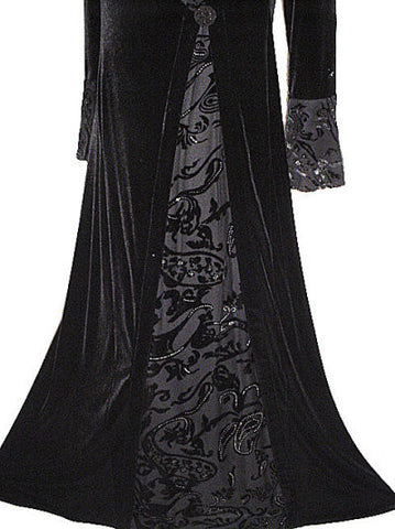 NEW WITH TAG - FROM MY OWN PERSONAL COLLECTION - FABULOUS VICTORIAN-LOOK VELVETY EVENING GOWN ADORNED WITH SPARKLING SILVER BURNOUT FABRIC
