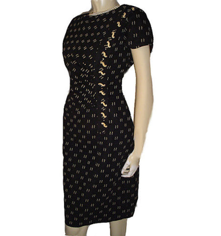 FROM MY OWN PERSONAL COLLECTION - FABULOUS VINTAGE BLACK & BEIGE RUCHED RHINESTONE EVENING COCKTAIL DRESS WITH METAL ZIPPER