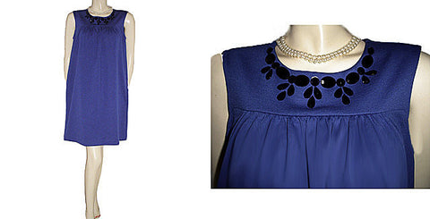 "BEAUTIFUL ELLE RAYON & SPANDEX BLACK FACETED SPARKLING ""JEWELS"" SHIFT DRESS IN ROYAL BLUE"