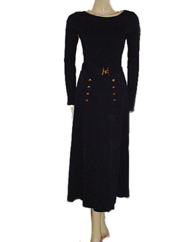 VINTAGE '60s / EARLY '70s ADRIENNE VITTADINI NAVY KNIT SAILOR DRESS WITH BELT