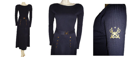 FROM MY OWN PERSONAL COLLECTION - VINTAGE ADRIENNE VITTADINI NAVY KNIT SAILOR DRESS