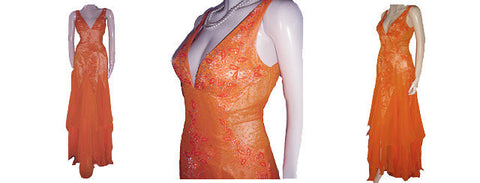 LA FEMME PARIS SPARKLING BEADED SILK EVENING GOWN WITH FABULOUS SHEER SIDES & BACK IN EXOTIC MANDARIN