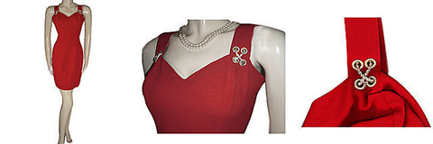 BEAUTIFUL CDC EVENING SCARLET CREPE COCKTAIL DRESS WITH SPARKLING RHINESTONE TRIM  - PERFECT FOR VALENTINE'S DAY