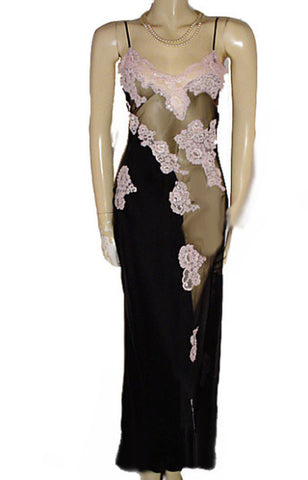 "NEW OLD STOCK - FROM MY OWN PERSONAL COLLECTION - GORGEOUS BRIDAL TROUSSEAU  ""BY JACALYN BENNETT FOR FREDERICK'S OF HOLLYWOOD"" SHEER BLACK SILK ILLUSION NIGHTGOWN ENCRUSTED WITH SPARKLING SEQUINS, PEARLS &  PINK APPLIQUES"