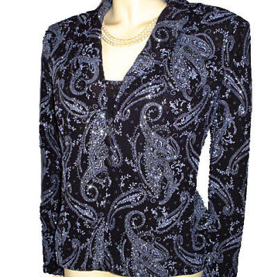 GORGEOUS SPARKLING ALEX EVENINGS BLUE METALLIC & BLACK 2-PIECE JACKET & SHELL SET  - PERFECT FOR THE HOLIDAYS