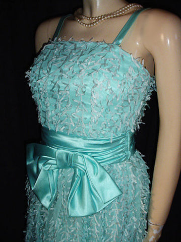 VINTAGE JO ED SOPHISTICATES EYELASH RIBBON BOW SATIN & ORGANZA DRESS IN AQUAMARINE - NEW WITH TAG