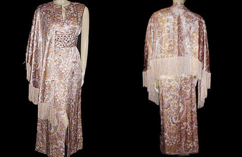 VINTAGE CARLYE HEAVY SATIN EVENING GOWN ENCRUSTED WITH HUGE PRONG-SET RHINESTONES WITH MATCHING PIANO FRINGE SHAWL