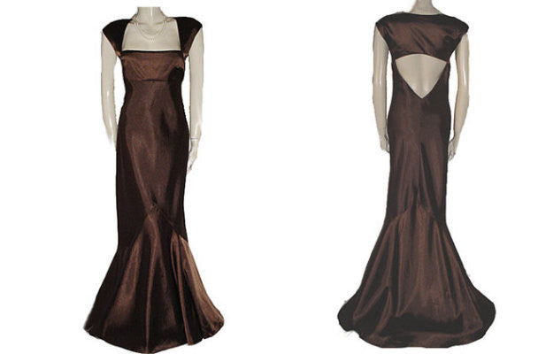 GORGEOUS JS BOUTIQUE CUT OUT BACK EVENING GOWN IN BITTERSWEET CHOCOLATE