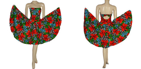 VINTAGE A. J. BARI  STRAPLESS PARTY DRESS WITH CUT-OUT BACK WITH BOW ADORNED WITH RED ORCHIDS & TURQUOISE PLUMERIA