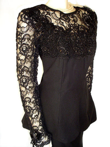 VINTAGE CHIARISSE 2-PIECE CHANTILLY LACE CREPE SWEETHEART NECKLINE EVENING GOWN ADORNED WITH APPLIQUES, SEQUINS, HANGING BEADS - SIZE LARGE - NEW WITH TAG $590