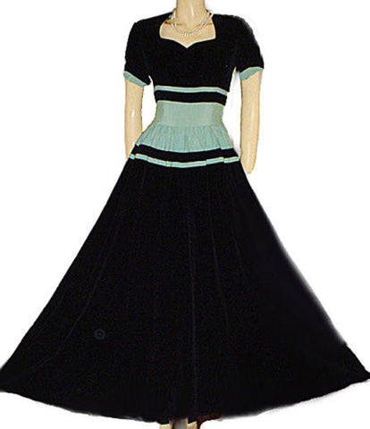 STUNNING 1930's / 1940's VINTAGE BLACK VELVET & AQUA FAILLE EVENING GOWN  WITH METAL ZIPPER - PERFECT FOR HOLIDAY PARTIES