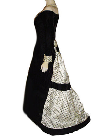 VINTAGE JESSICA McCLINTOCK VICTORIAN-LOOK BLACK VELVET & CREAM SATIN SEQUIN BUSTLE & TRAIN EVENING GOWN