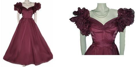VINTAGE ORGANZA SHIRRED RUFFLED EVENING GOWN IN BING CHERRY WITH FRENCH-WIRE RUFFLE SLEEVES