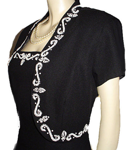 J. R. NITES BY CALIENDO BLACK CREPE EVENING GOWN WITH MATCHING SPARKLING BEADED SEQUIN JACKET - LARGER SIZE