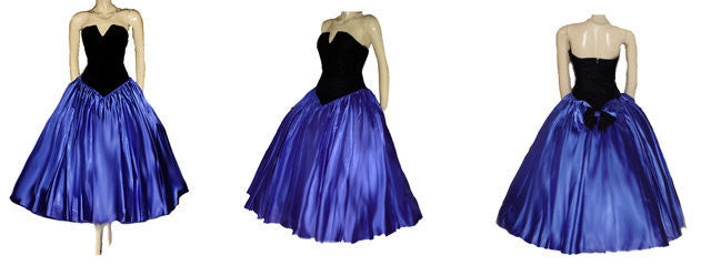 VINTAGE BARI JAY FASHIONS STRAPLESS BLACK VELVET & ROYAL BLUE SATIN EVENING GOWN WITH ATTACHED CRINOLINE - LARGER SIZE