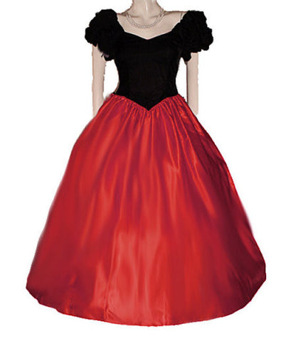 VINTAGE '60s / '70s NEW OLD STOCK TIME & ETERNITY BLK VELVET & RED SATIN BALL GOWN WITH ATTACHED CRINOLINE - PERFECT FOR HOLIDAY PARTIES