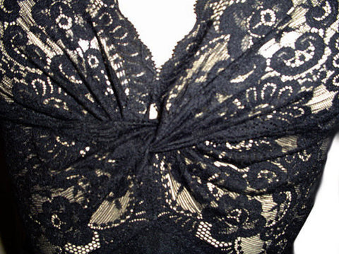 SOLD - VINTAGE OLGA RARE STYLE GOWN ALL LACE TWISTED BODICE & BACK IN VELVET NIGHT