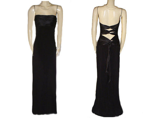 GORGEOUS MARY L. SATIN & SPANDEX CUT-OUT BACK EVENING GOWN IN BLACK - SIZE 10