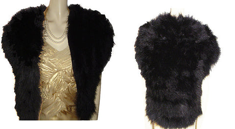 GLAMOROUS FABULOUS FLUFFY BLACK MARABOU EVENING JACKET OR BED JACKET
