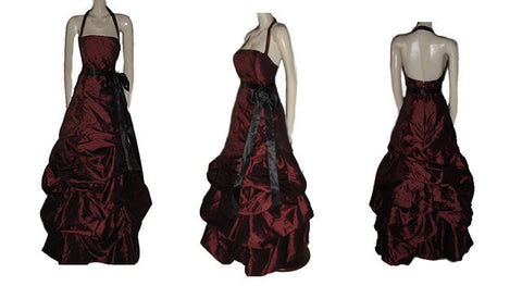 BEAUTIFUL BILL LEVKOFF RUCHED WEDDING CAKE LOOK EVENING GOWN BALL GOWN IN FRENCH BORDEAUX - PERFECT FOR THE HOLIDAYS