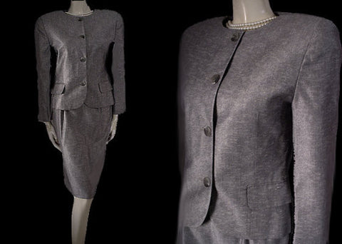 BEAUTIFUL VINTAGE CHRISTIAN DIOR I. MAGNIN CLASSIC SUIT  IN BLACK & WHITE