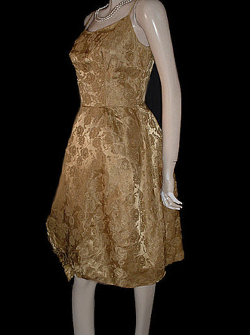 VINTAGE '50s GOLD BROCADE PARTY DRESS ADORNED WITH ROSES & BOW WITH ATTACHED CRINOLINE & METAL ZIPPER