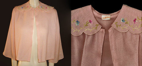 EXQUISITE VINTAGE SAKS FIFTH AVENUE EMBROIDERED SPARKLING RHINESTONE SWEATER BED JACKET