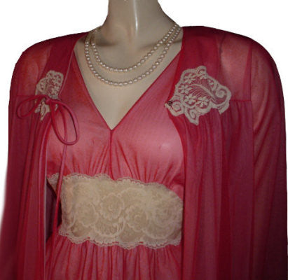 VINTAGE INTIME DOUBLE NYLON & IVORY LACE PEIGNOIR & NIGHTGOWN SET IN BRANDIED CHERRIES