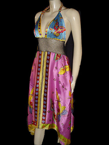 VINTAGE LYNDIA PROCANIK COLLECTION BEADED HALTER BUTTERFLY SILK CROCHETED BACKLESS DRESS